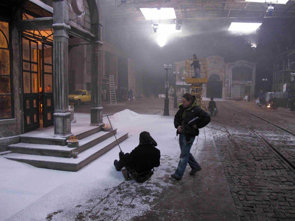 Movie decor Somewhere in Palilula snow steps