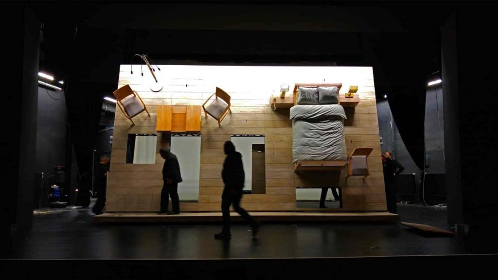 theater set decoration high wall bed table