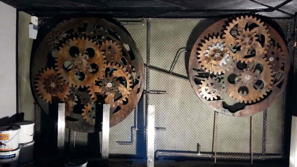 clock mechanism, papier mache, props and decoration for theater settings