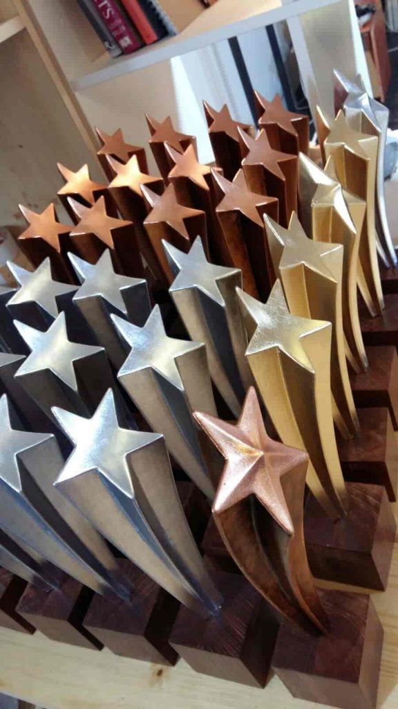 props - trophy models - star trophies - gold, silver and copper