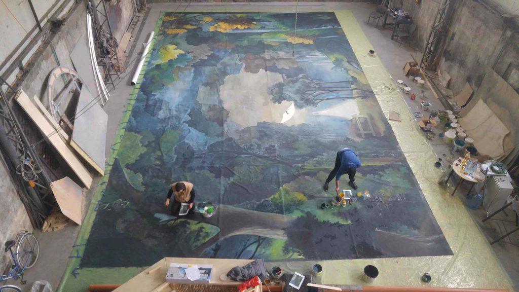Pictura pe perete - peisaj toamna - copaci - in lucru 2