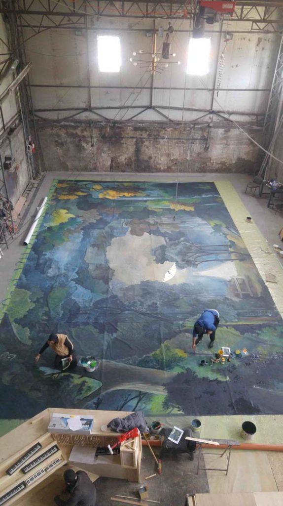 Pictura pe perete - peisaj toamna - copaci - in lucru 3