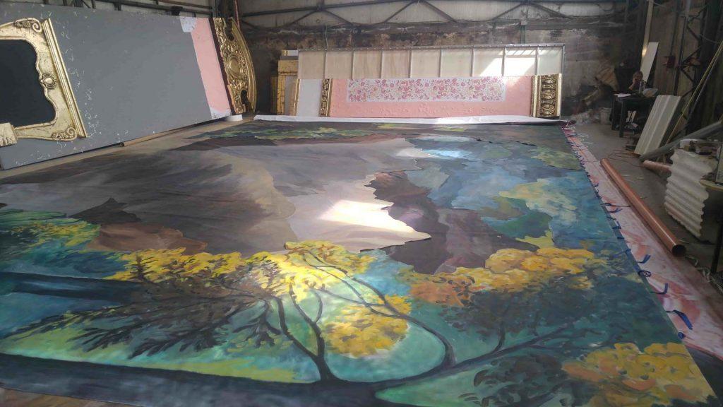 Pictura pe perete - peisaj toamna - copaci - in lucru 4