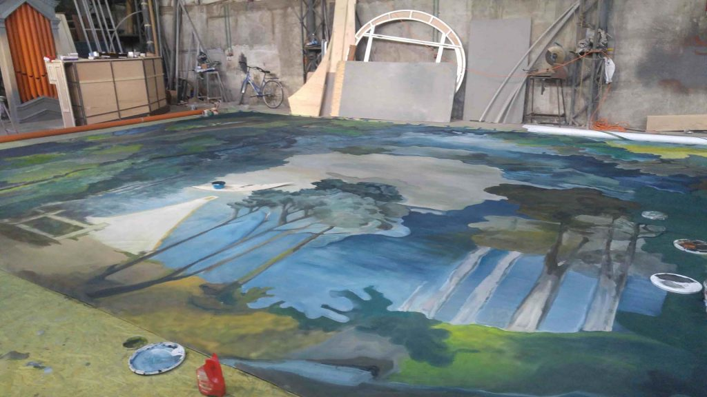 Pictura pe perete - peisaj toamna - copaci - in lucru 5