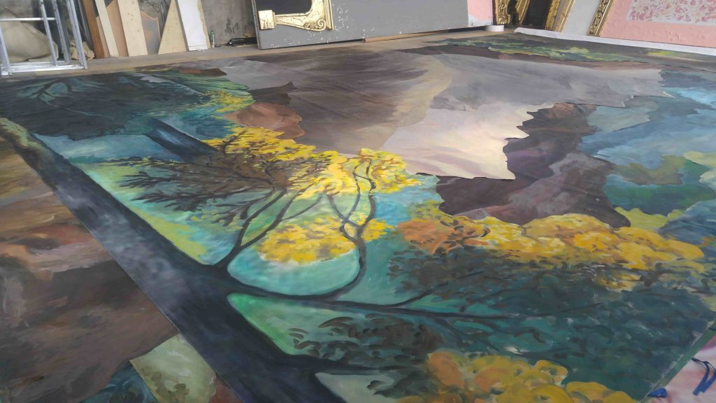 Wall painting - autumn landscape - trees 1