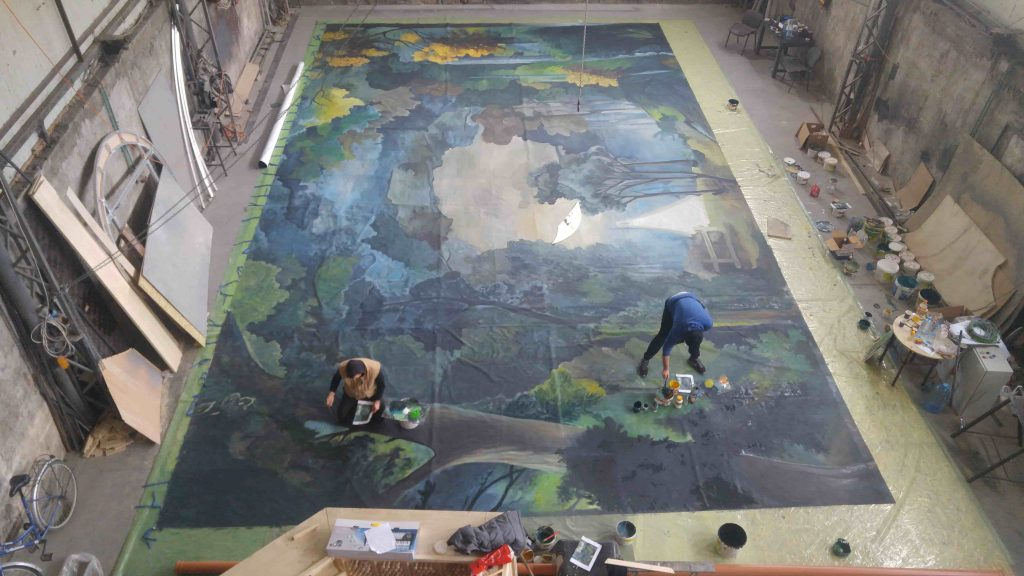 Wall painting - autumn landscape - trees - in progress 2