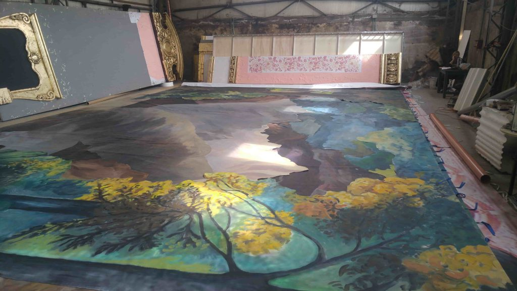 Wall painting - autumn landscape - trees - in progress 4