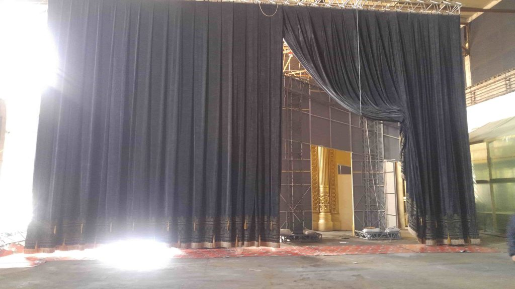 Roman curtain - gray - yellow tassels 4